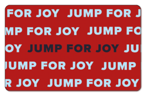 Jump for Joy written multiple times across a solid red background.
